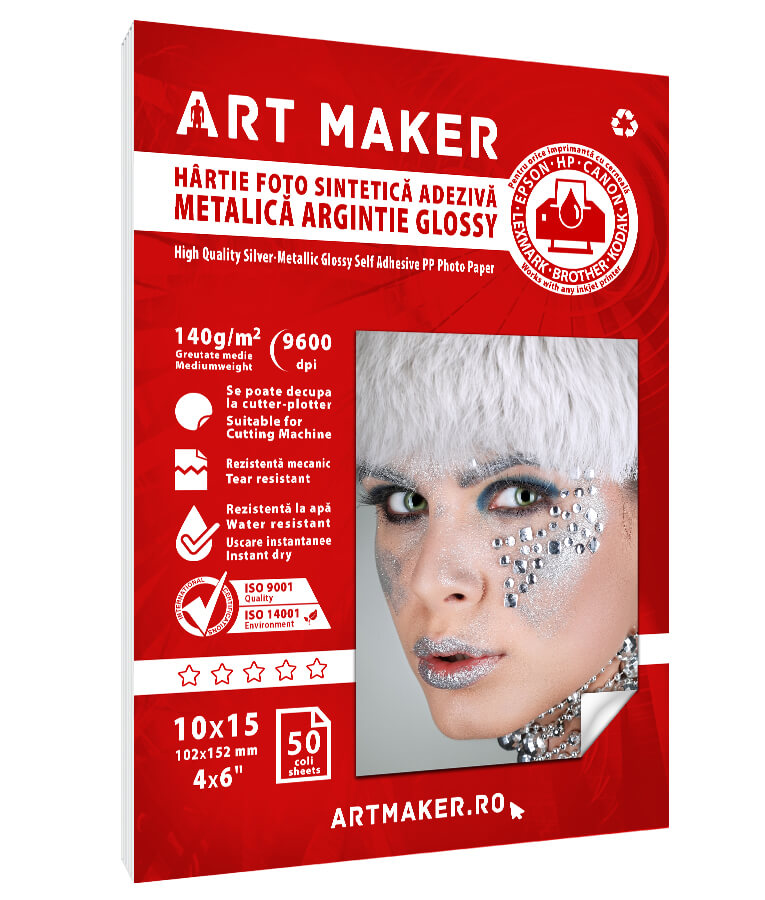 Hartie Foto Adeziva Metalica Argintie 10x15