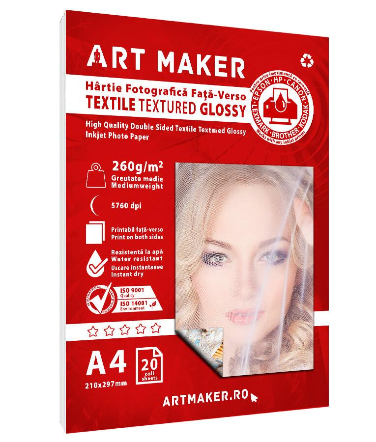 Hartie Foto Fata-Verso Textura Textil A4